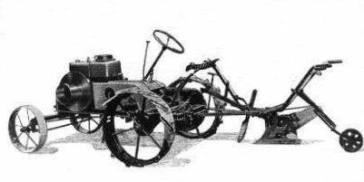 Erstes Dieselross mit Mähwerk und Anbaupflug