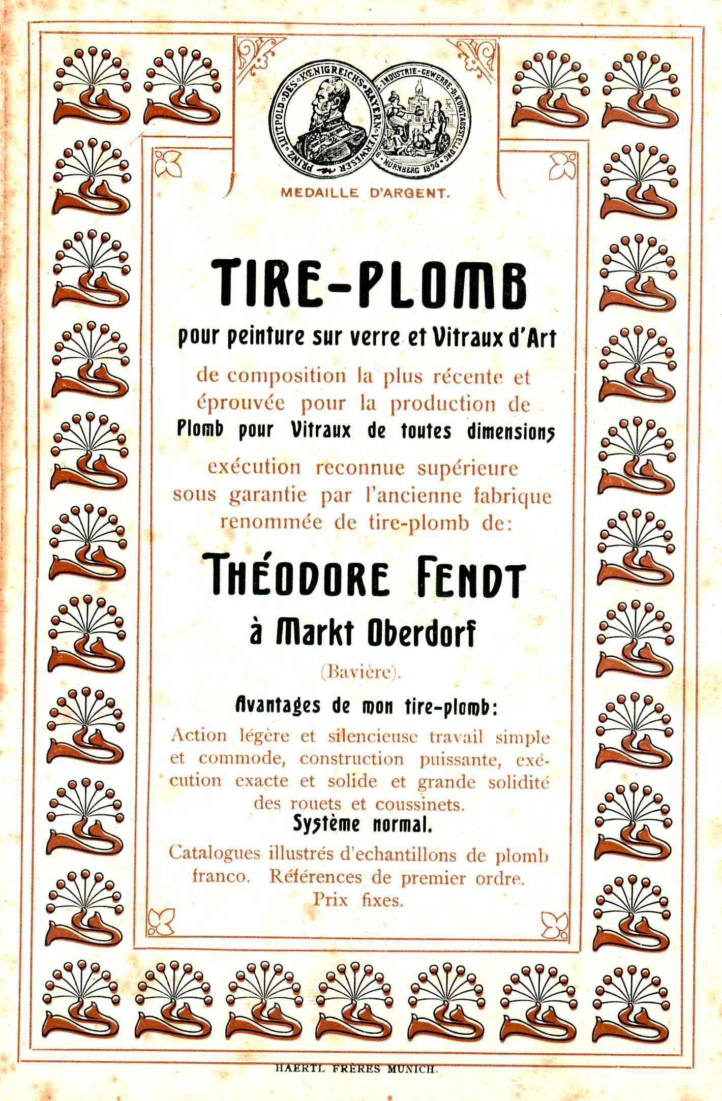 Französischer Prospekt von Theodor Fendt